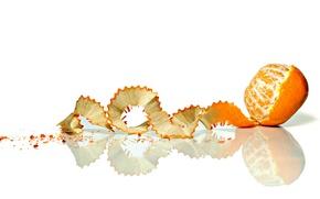 Обои фрукт, мандарин, скорлупа