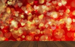 Обои сердечки, red, love, background, romantic, hearts, bokeh, Valentine's Day