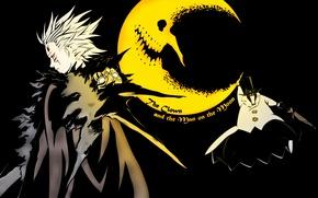 Картинка ночь, месяц, аниме, арт, парень, D. Gray-man