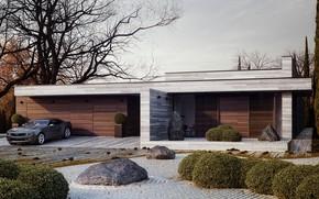 Картинка дизайн, дом, камни, дерево, Chevrolet, Camaro, кусты, Horizontal, Michal Nowak