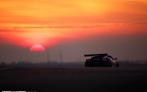 Обои солнце, огни, Lamborghini, утро, Gallardo, трек, вид сзади, Super Trofeo