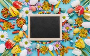 Картинка цветы, ромашки, весна, colorful, Пасха, тюльпаны, сладости, хризантемы, flowers, tulips, spring, Easter, eggs, candy, decoration, …