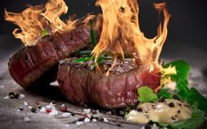 Картинка огонь, мясо, специи, стейк