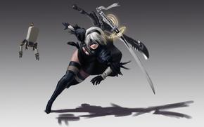 Картинка robot, ken, katana, bishojo, sword, girl, Nier Automata, blade, guardian, warrior