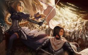Обои аниме, Судьба/великая Кампания, солдаты, арт, война, оружие