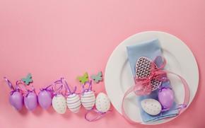 Картинка яйца, весна, тарелка, Пасха, wood, spring, Easter, eggs, decoration, Happy
