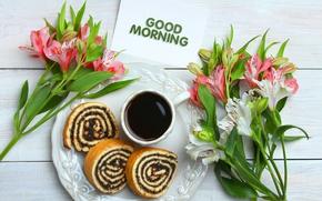Картинка кофе, еда, завтрак, десерт, бисквит, рулет, Studio KIVI
