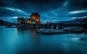 Обои Замок Эйлен-Донан, Шотландия, ночь, вода, Scotland, Eilean Donan Castle, замок, фьорд, мост, Loch Duich