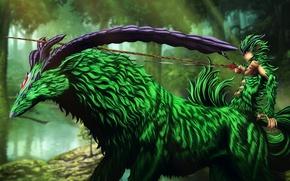 Картинка green, horns, Berserk, evil, bow, warrior, archer, arrow, vegetation, claws, symbiosis, by animefanno1, Aposttle, semi …