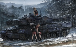 Обои battlefield, game, anime, snow, blizzard, panzer, combat, oriental, girl, asiatic, asian, war, seifuku, tank, forest, ...