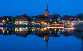 Картинка отражение, Holstein, дома, Германия, огни, вечер, вода, небо, река