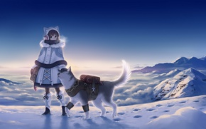 Обои закат, небо, megumu, девушка, аниме, хаски, зима, снег, горы, холод, пар, собака