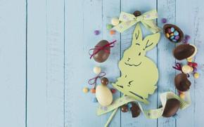 Картинка кролик, конфеты, пасха, Праздник, шоколадные яйца