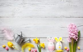 Картинка цветы, праздник, Пасха, wood, flowers, декор, Easter, eggs, candy