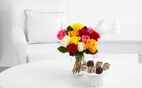 Обои стол, букет, розы, пирожное