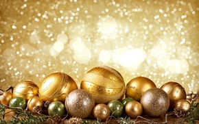Картинка Новый Год, Рождество, golden, christmas, balls, merry christmas, decoration, xmas