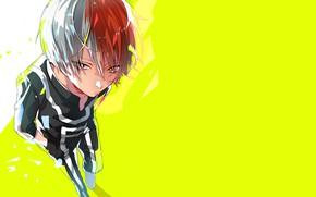 Картинка взгляд, фон, аниме, парень, Boku no Hero Academia, Моя геройская академия, Тодороки Шото