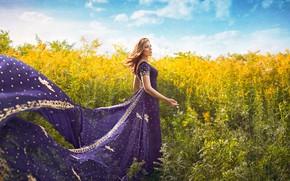 Обои платье, поле, девушка, ветер, лето