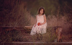 Картинка настроение, яблоко, девочка