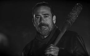 Картинка blood, zombies, survivor, vampire, assassin, Jeffrey Dean Morgan, AMC, TV series, Lucille, barbed wire, villain, ...