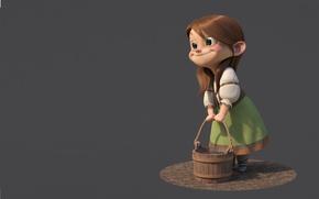 Обои настроение, Gretel, girl, минимализ, ведро, улыбка, guzz soares, рендеринг, девочка