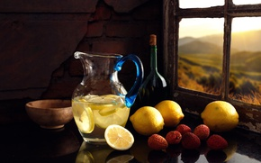 Обои лимонад, напиток, лимоны, окно, свежесть, натюрморт