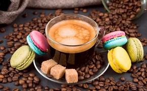 Картинка кофе, зерна, чашка, hot, пирожные, cup, beans, coffee, dessert, macaron, макарун