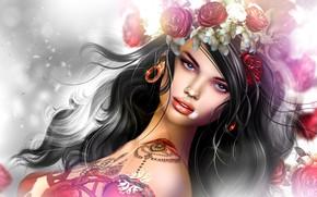 Обои волосы, тату, пирсинг, девушка, венок, цветы