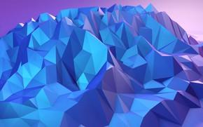 Картинка горы, скалы, краски, объем, грань, ребро, low poly