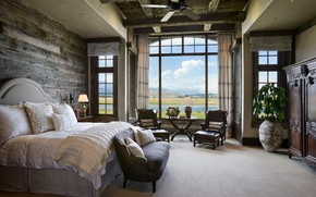 Обои спальня, rustic bedroom, Wyomin, интерьер, glorious