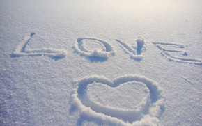 Обои зима, снег, любовь