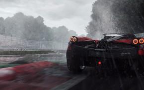 Обои Need For Speed Rivals, supercar, speed, Zonda, rain
