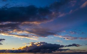 Картинка Закат, Солнце, Небо, Облака, Вечер, Синий, Белый, Горизонт, Утро, Свет, Рассвет, Голубой, Заря, На заре, ...