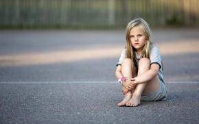 Картинка асфальт, девочка, Schoolyard