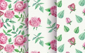 Картинка текстура, розовый фон, vintage, roses, watercolor, leave, Patterns