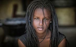 Картинка портрет, косички, Африка, чернокожая, Joachim Bergauer