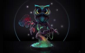 Картинка ночь, дерево, сова, Midnight Owl, Ashley A. Adams