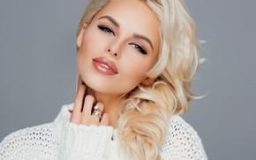 Обои взгляд, девушка, лицо, фото, макияж, красивая, свитер, Hanna, Ханна