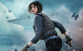 Картинка космос, пистолет, фантастика, постер, космический корабль, Фелисити Джонс, Felicity Jones, Rogue One: A Star Wars ...