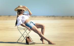 Картинка лето, девушка, стул