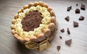 Картинка шоколад, печенье, лента, торт, крем, бисквит, Савоярди