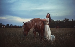 Картинка девушка, лошадь, Aleah Michele, Late on a summer day
