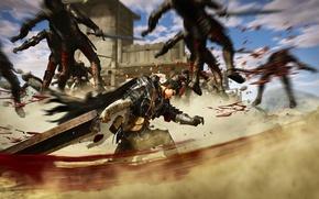 Картинка sword, blood, game, soldier, armor, anime, Microsoft Windows, ken, PS3, blade, Berserk, castle, manga, PlayStation …