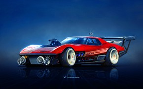 Картинка Красный, Авто, Corvette, Chevrolet, Машина, Автомобиль, Арт, Chevrolet Corvette, Рендеринг, Yasid Design, Yasid Oozeear, YASIDDESIGN