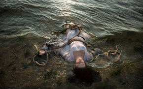 Обои ситуация, канат, девушка, вода, утопленница
