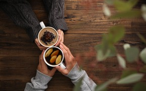Обои лимон, чай, руки, отношения, имбирь