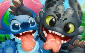 Картинка kawaii, alien, cartoon, crossover, Stitch, cute, How to Train Your Dragon, animated movie, Lilo & …
