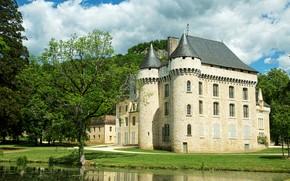 Картинка пруд, замок, Франция, France, Pond, Champagne, Castles