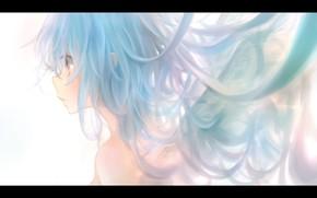 Картинка девушка, крылья, аниме, арт, профиль, milkuro, mari
