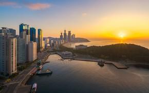 Картинка рассвет, утро, Южная Корея, Пусан, Busan